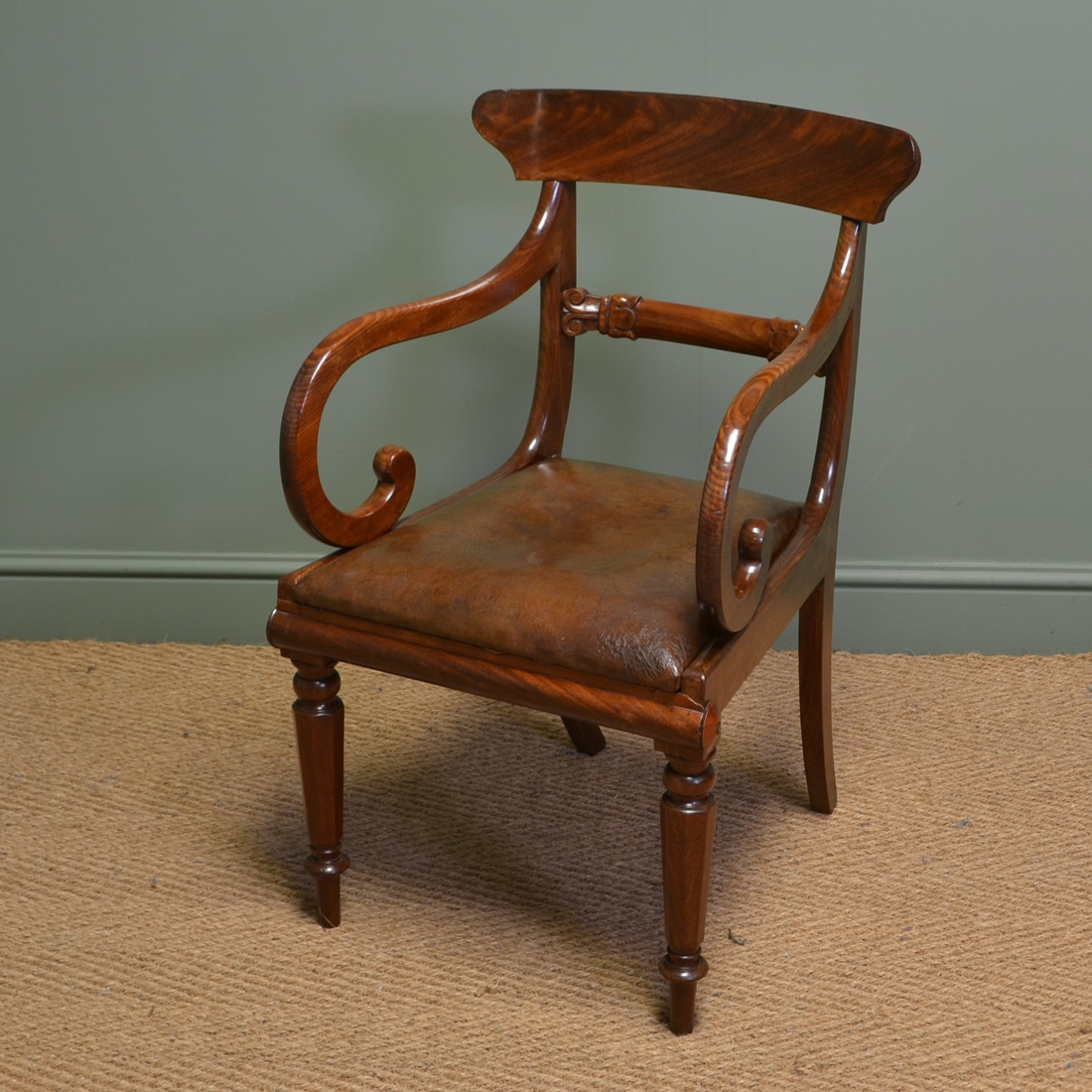 antique leather chair repair stool hong kong spectacular georgian mahogany and desk
