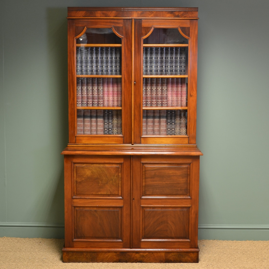 Antique Mahogany Victorian Bookcase On Cupboard Antiques World