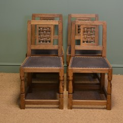 Vintage Oak Dining Chairs Custom Chair Slipcovers Set Of Four Mouseman Antique Antiques