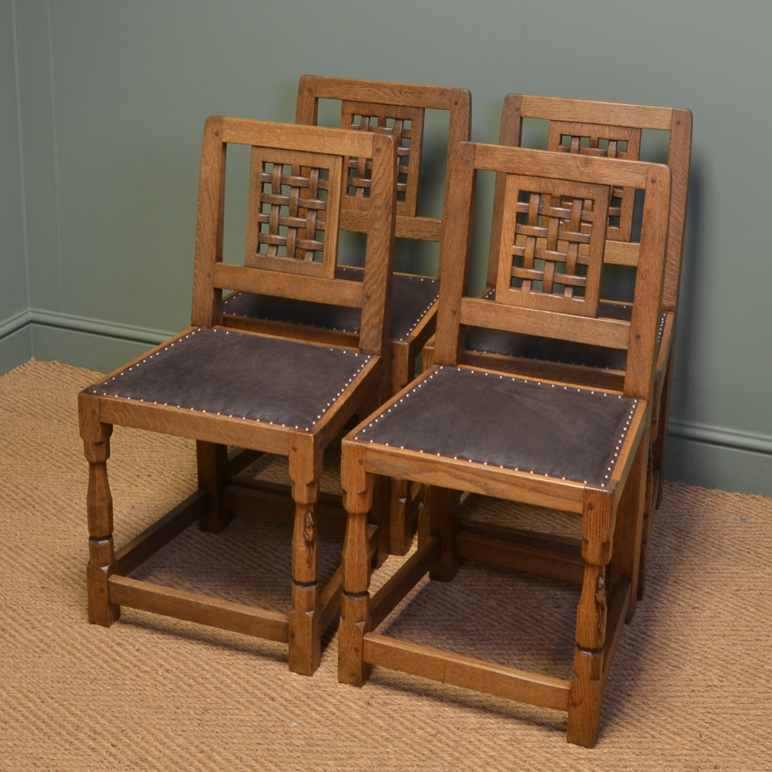 vintage oak dining chairs adirondack chair with cup holder plans set of four mouseman antique antiques