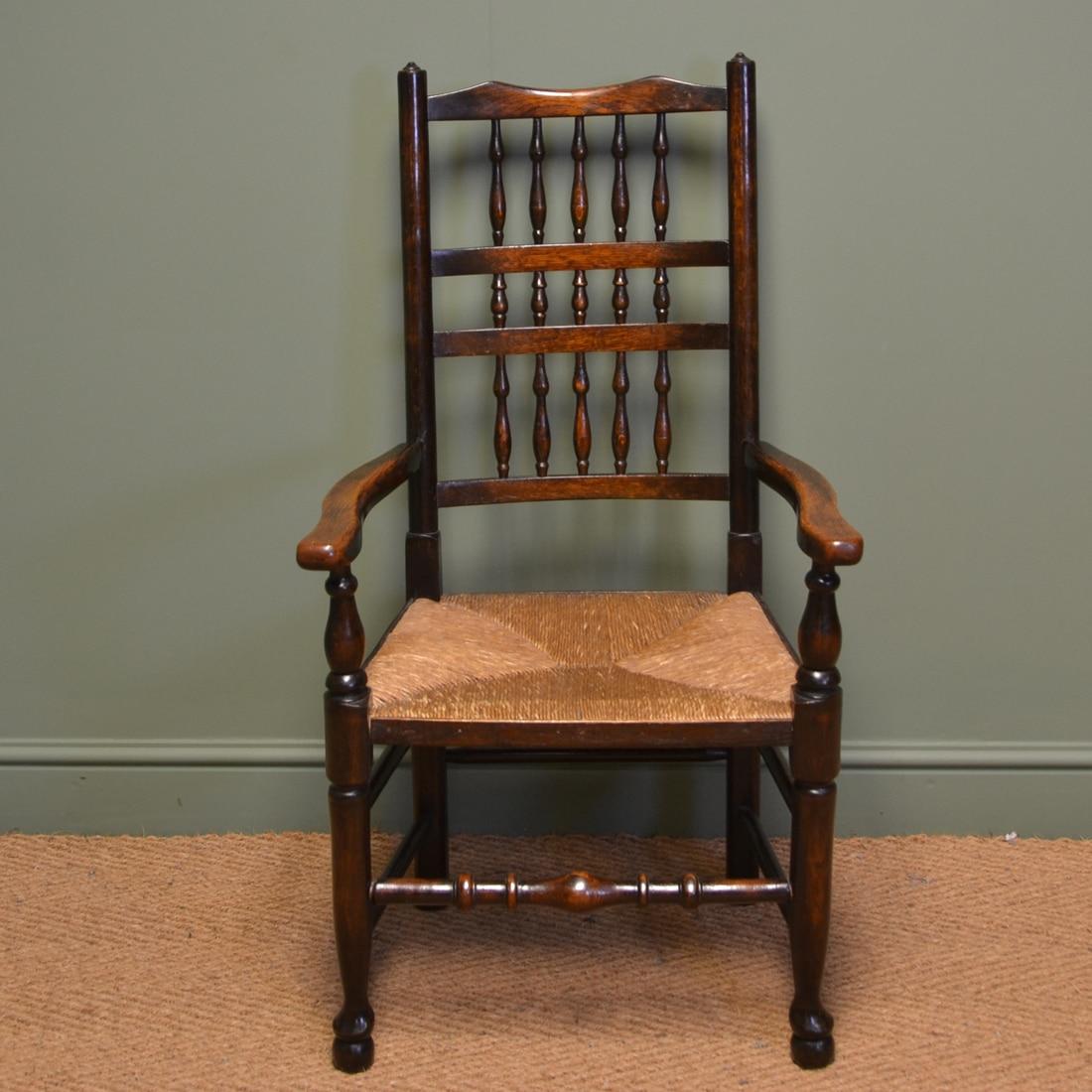 Edwardian Oak Antique Lancashire Ladder Back Chair