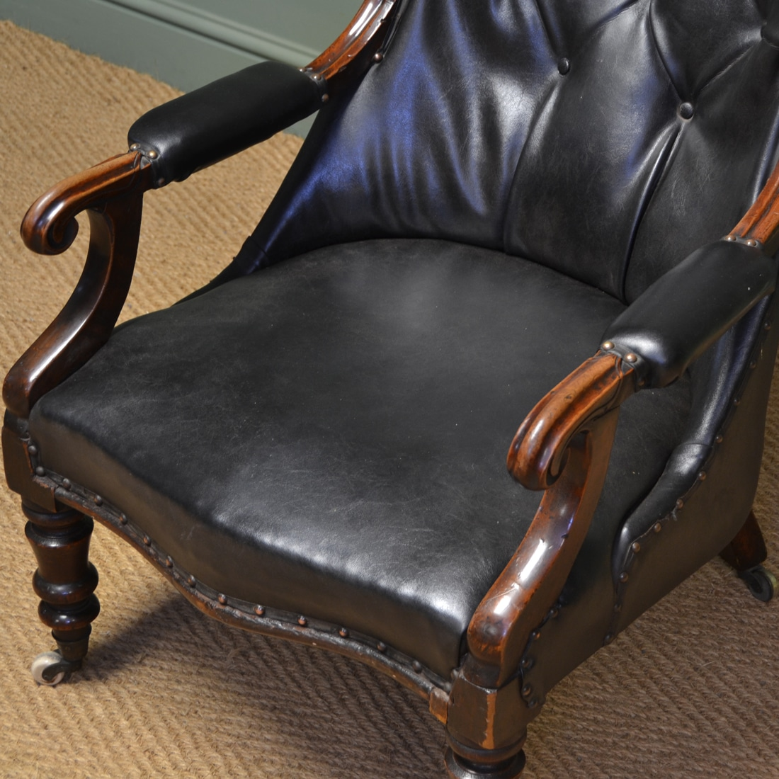 antique leather chair repair gym ball south africa country house victorian and mahogany button back