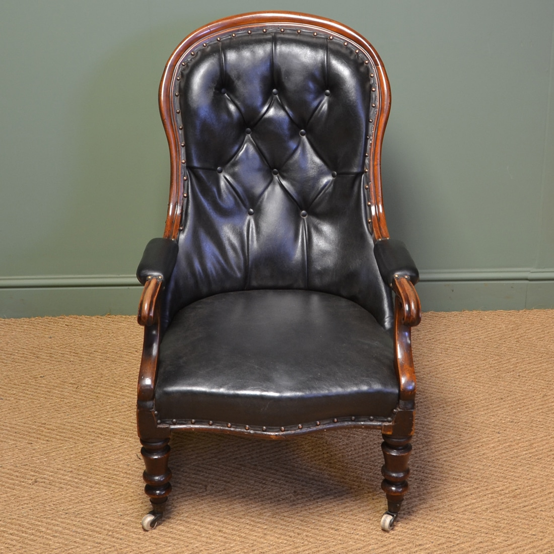 antique leather chair repair vinyl covers country house victorian and mahogany button back