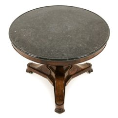 Antique French Bistro Table And Chairs Barber Empire Marble-top Mahogany Gueridon Fa-1129   Warehouse