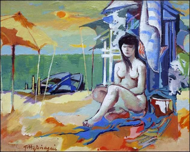tableaux et peintures huile nu à la plage