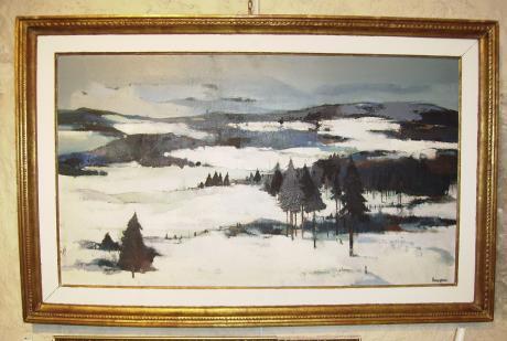 JC BOURGEOIS  Neige de Janvier  Huile sur panneau 49  86 cm