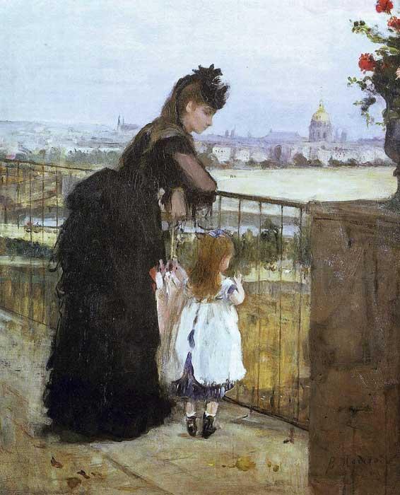Berthe Morisot femme et enfant sur un balcon: huile sur toile