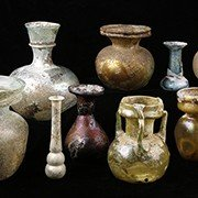 Roman Marbled Green Glass Unguentarium