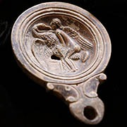 Roman Silver Lion Heads Brooch