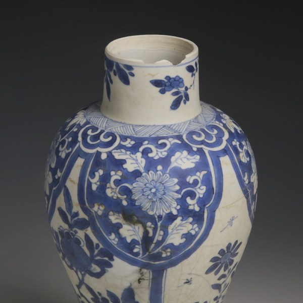Kangxi Meiping Vase from the Blue-Chrysanthemum-Wreck