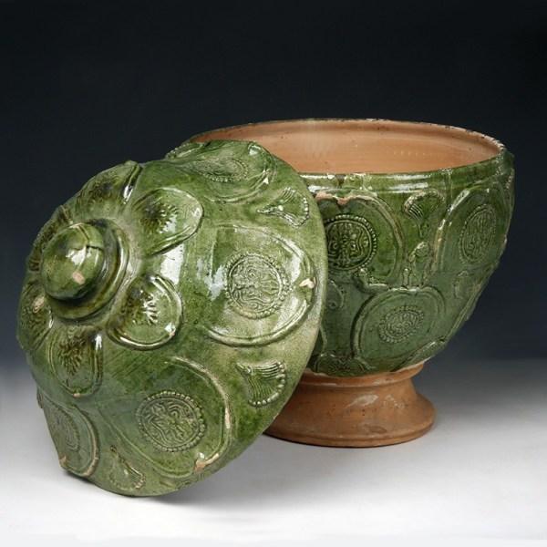 Large Yuan Green Glazed Lidded Jar