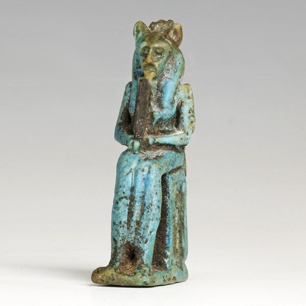 Large Egyptian Faience Amulet of a Lion-Headed Goddess