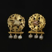 A Pair Of Gold Roman Earrings with Pearls