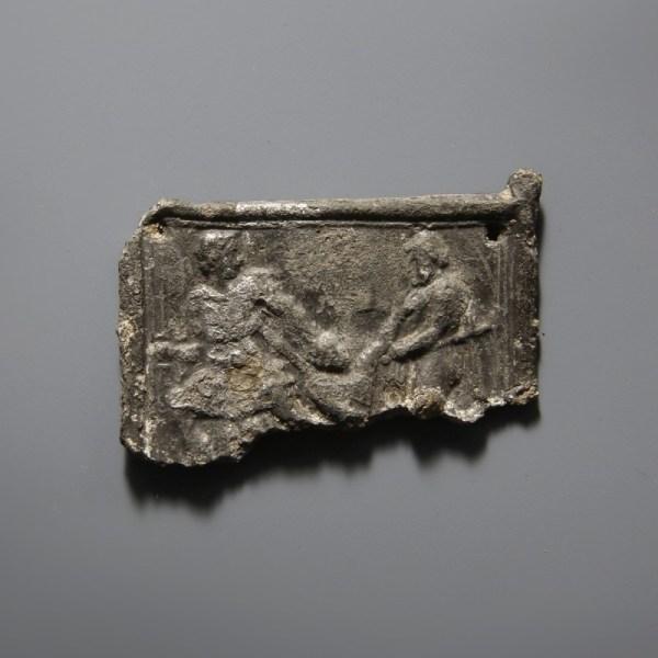 Roman Lead Plaque With A Scene
