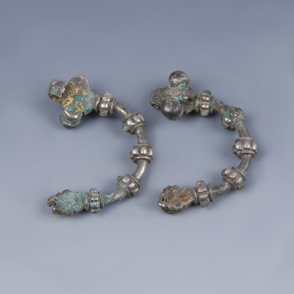 Pair of Greek Silver Brooches