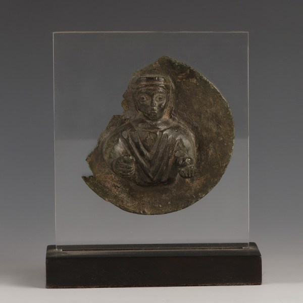 Late Roman Bronze Roundel with a Man in Relief