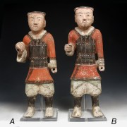Tall Han Dynasty Pottery Warrior in Armour
