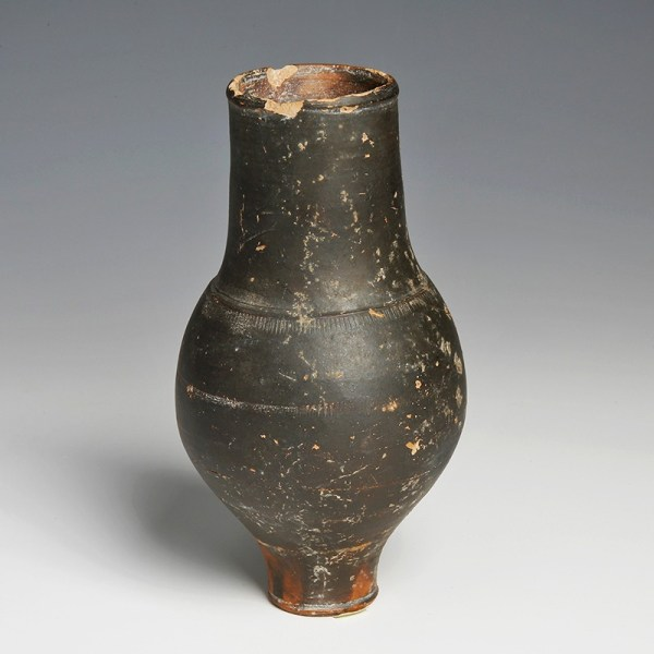 Unusual Greek Blackware Flask
