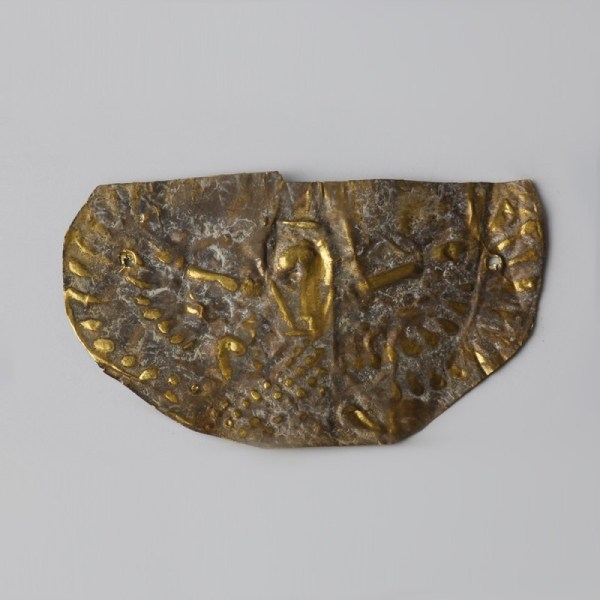 Egyptian Gold Repoussé Plaque with Isis Scene