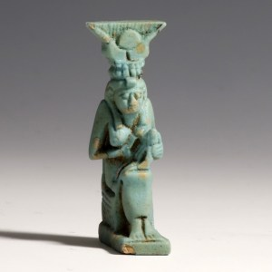 Large Egyptian Faience Isis and Horus Amulet
