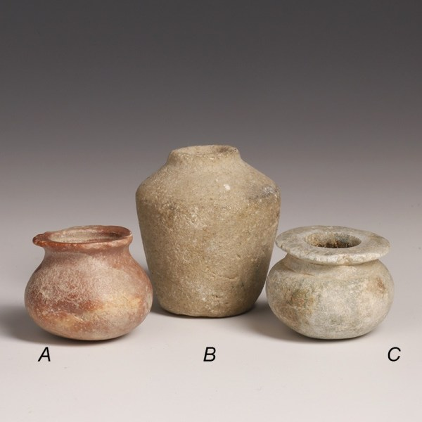 Provincial Egyptian Holy Land Stone Cosmetics Vessels