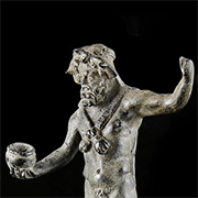 Roman Bronze Ram Headed Patera Handle