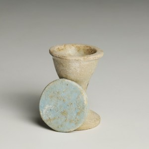 Egyptian Amarna Faience Lidded Ointment Jar