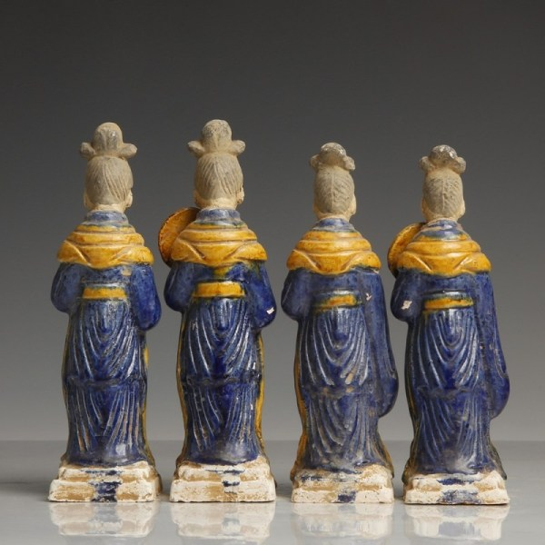 Ming Dynasty Blue-Glazed Processional Figures