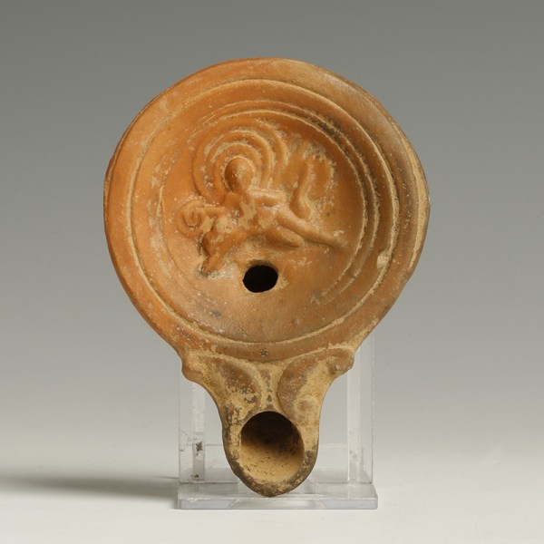 Roman Lamp with Boy on a Dolphin
