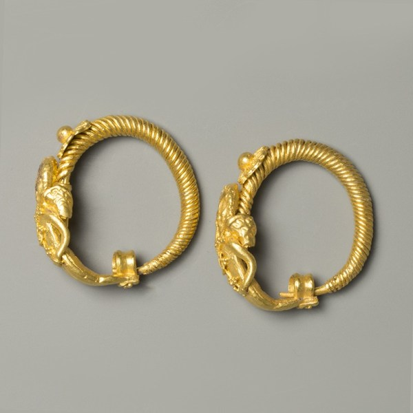 Hellenistic Gold Eros Earrings