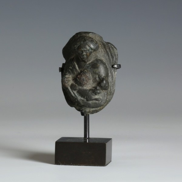 Bronze Image of Woman and Dog
