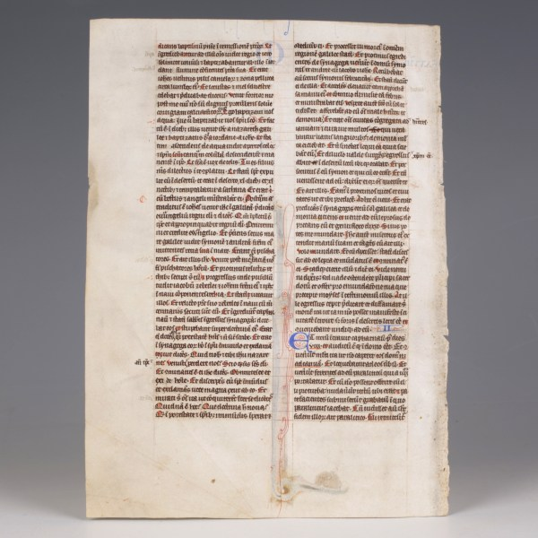 British Medieval Bible Leaf
