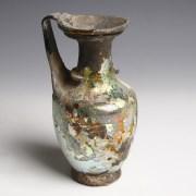 Iridescent Roman Glass Jug with Handle