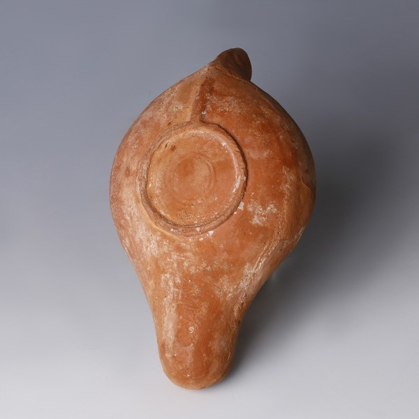 North African Roman Redware Oil Lamp with Old Testament Scene