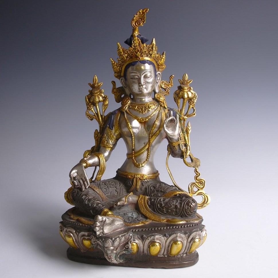 Seated Bronze Figurine of Green Tara