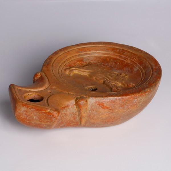 Roman Terracotta Oil Lamp with a Boar