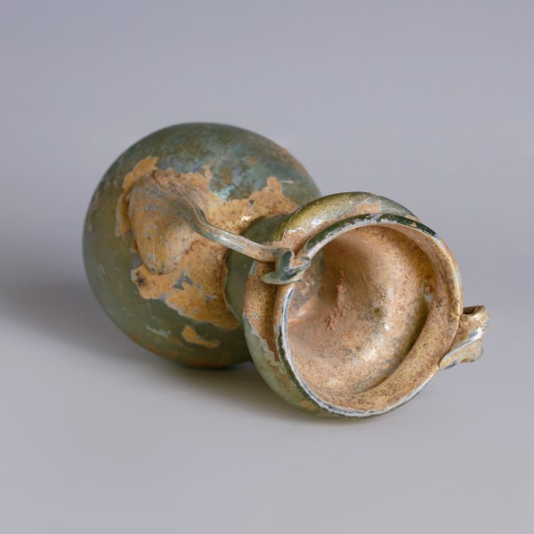 Roman Glass Flask with Applied Handles