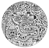 """The """"Minoa"""" plate in black on white."""