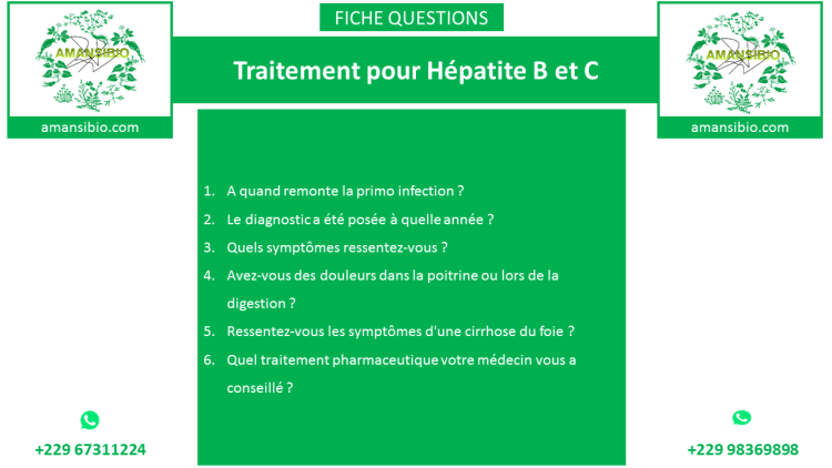 Voici le questionnaire du centre AMANSIBIO envoyé aux patients.