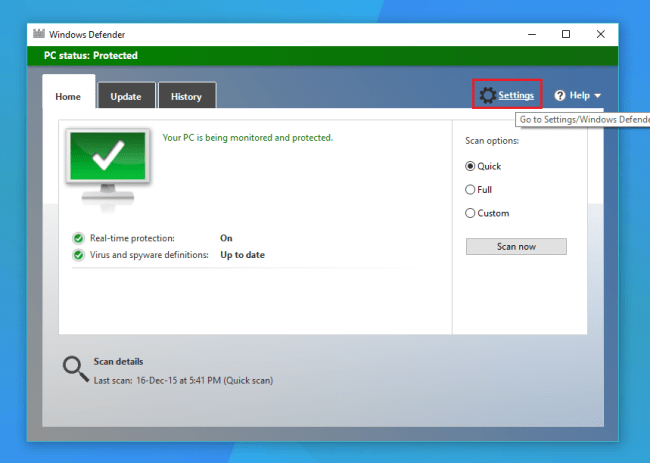 Disable Windows Defender in Windows 10