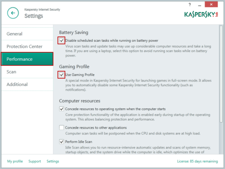 kaspersky gaming setting