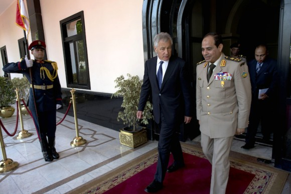 Secretary of Defense Chuck Hagel meets with Egyptian general Abdel Fatah Saeed Al Sisy