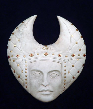 'Padded Headdress' (carved antler and gold leaf) by Maureen-Morris