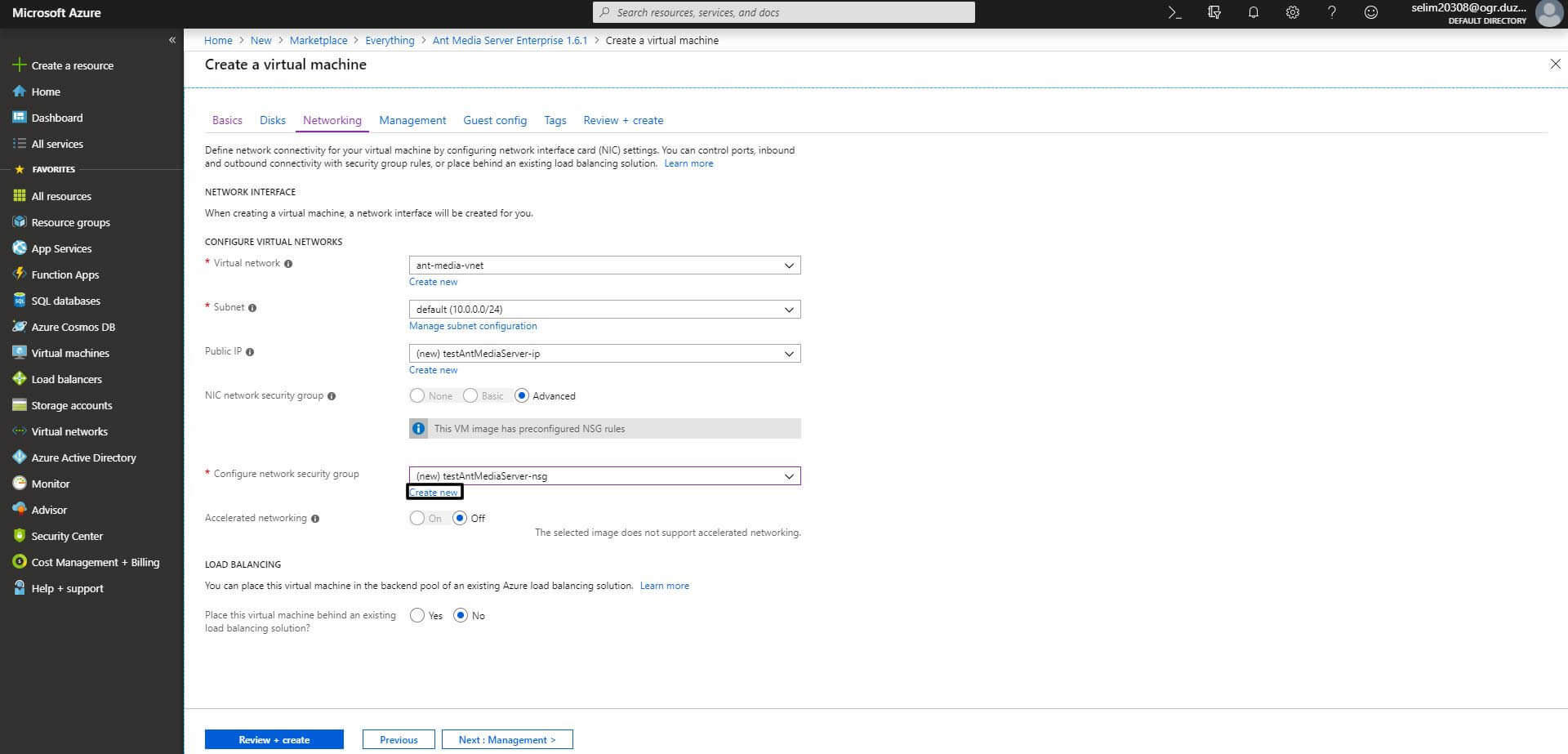Azure Marketplace Add or Change Port Setting