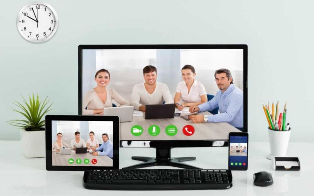 video conference and webinar on pc smartphone and tablet