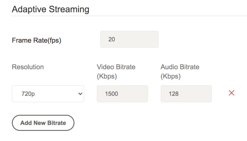 adaptive streaming settings