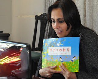 Fauzia talking to the children via Skype