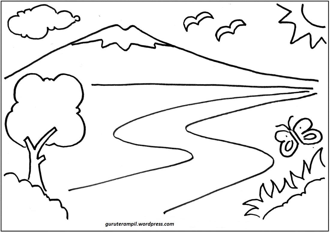 Gambar Mewarnai Kaligrafi Bliblinews Pemandangan Antoeng74 Dibo