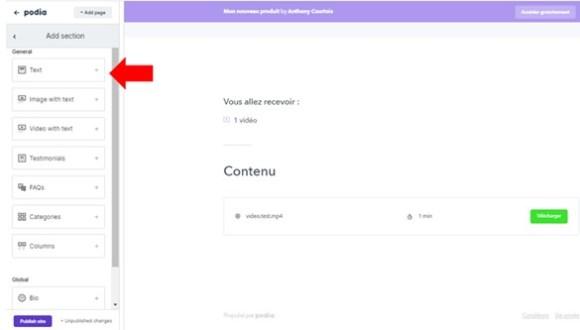 ajout de texte page de vente dans podia