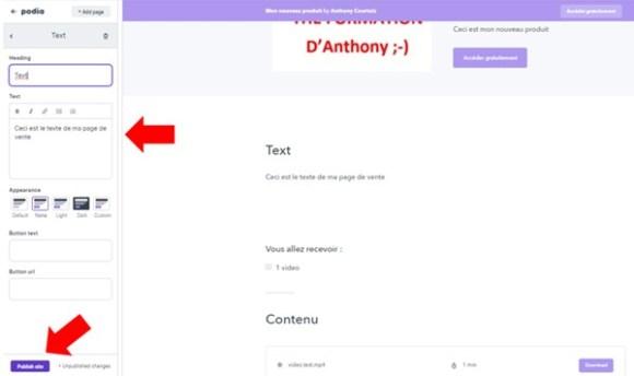copier le texte de votre page de vente